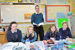 Class Act <br /> Ballintubber's Alan Plunkett pictured at the day job teaching pupils from Killawalla NS last week.<br /> Pic Conor McKewon