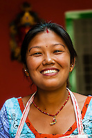 Nepalese woman, Cafe Mitra (restaurant and hotel), Kathmandu, Nepal.