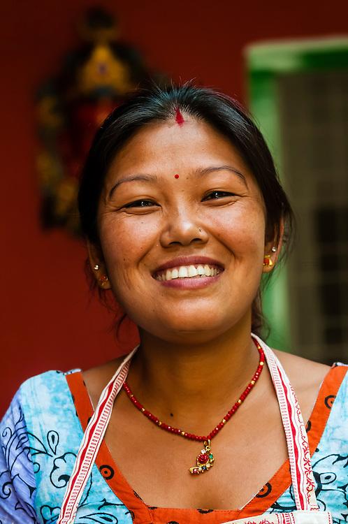 Nepalese woman, Cafe Mitra (restaurant and hotel), Kathmandu, Nepal.