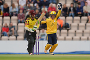 Calvin Dickinson of Hampshire celebrates the wicket of Steven Davies of Somerset during the NatWest T20 Blast South Group match between Hampshire County Cricket Club and Somerset County Cricket Club at the Ageas Bowl, Southampton, United Kingdom on 18 August 2017. Photo by Dave Vokes.