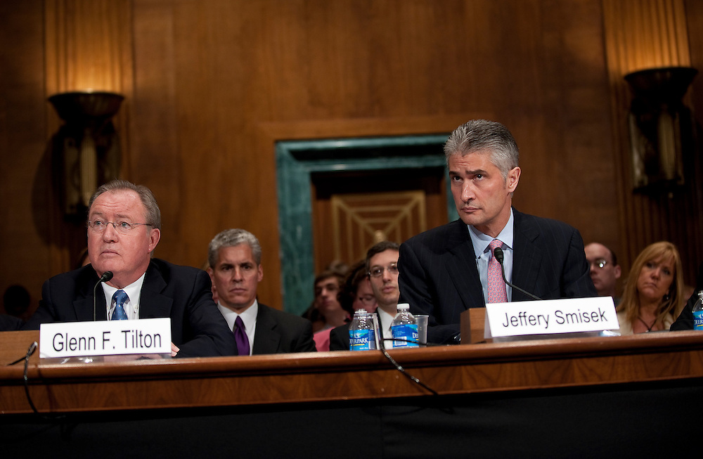 May 27, 2010 - Washington, District of Columbia, U.S., - Glenn Tilton, chairman, president and CEO of United Airlines and Jeffery Smisek, chairman, president and CEO of Continental Airlines, testify before a Senate Judiciary Committee Hearing on the  the United and Continental Airlines Merger. .(Credit Image: © Pete Marovich/ZUMA Press)