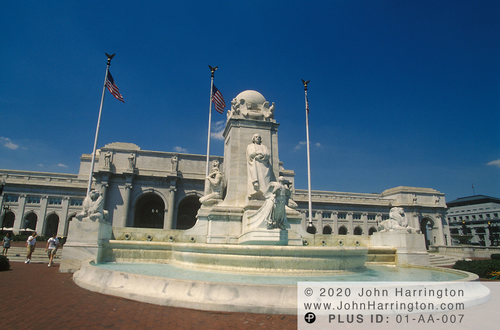 The fountain honoring Christopher Columbus in front of Union Station.