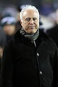 Philadelphia Eagles owner Jeffrey Lurie appears to frown during a sideline visit before the NFL NFC Wild Card football game against the New Orleans Saints on Saturday, Jan. 4, 2014 in Philadelphia. The Saints won the game 26-24. ©Paul Anthony Spinelli