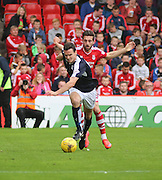 Dundee's Paul McGinn bursts past Aberdeen&rsquo;s Graeme Shinnie- Aberdeen v Dundee at Pittodrie<br /> - Ladbrokes Premiership<br /> <br />  - &copy; David Young - www.davidyoungphoto.co.uk - email: davidyoungphoto@gmail.com