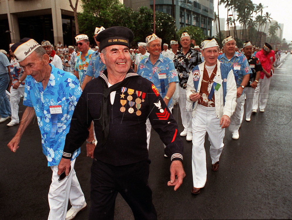 12/6/1991 --Al Diaz/Herald Staff--Pearl Harbor Veterans on parade in Oahu, Hawaii for the 50th anniversary of Japanese attack on Pearl Harbor.