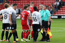 Junior Morias of Peterborough United speaks to the match officials at full-time after his goal was disallowed - Mandatory by-line: Joe Dent/JMP - 16/09/2017 - FOOTBALL - Banks's Stadium - Walsall, England - Walsall v Peterborough United - Sky Bet League One