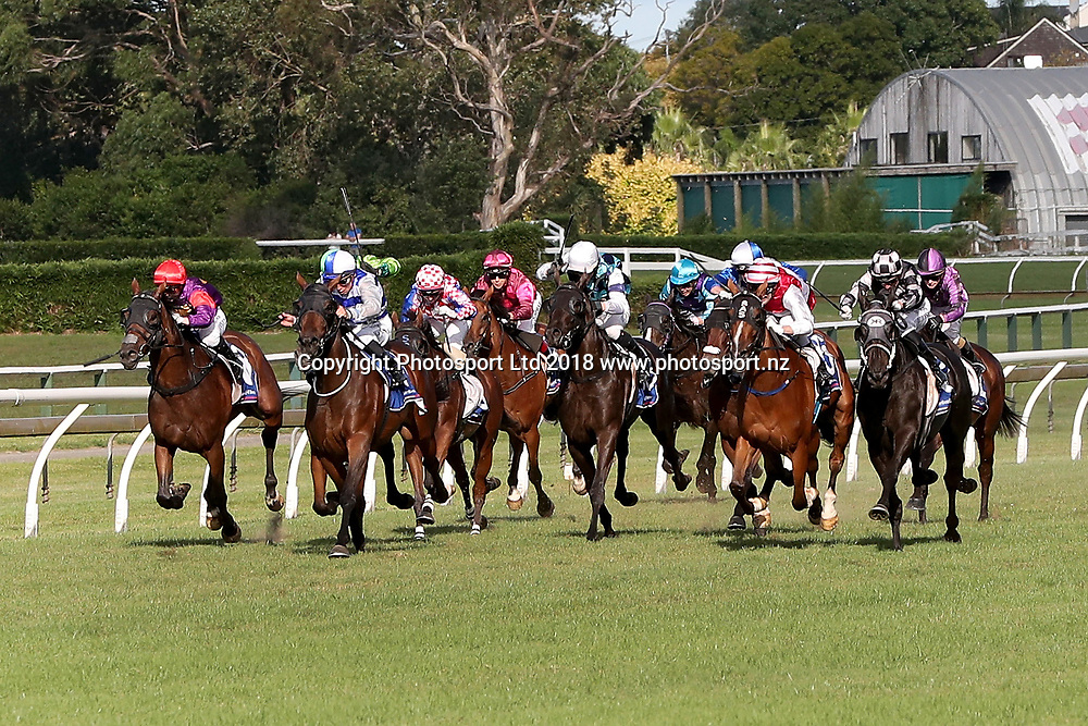 Ladies First with jockey Johnathan Parkes (R with red/white cap) wins the Barfoot & Thompson Auckland Cup on Auckland Cup Day, Ellerslie Racecourse, Auckland, New Zealand, Saturday, March 10, 2018. Copyright photo: David Rowland / www.photosport.nz
