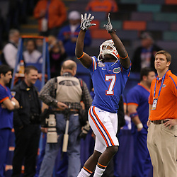Jan 01, 2010; New Orleans, LA, USA; Florida Gators wide receiver Justin Williams (7) during warm ups prior to kickoff against the Cincinnati Bearcats for the 2010 Sugar Bowl at the Louisiana Superdome.  Mandatory Credit: Derick E. Hingle-US PRESSWIRE..