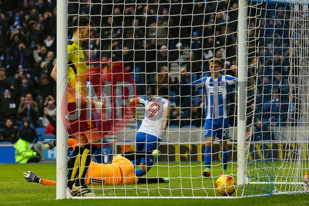 Goal, Sam Baldock of Brighton & Hove Albion scores, Brighton & Hove Albion 2-0 Burton Albion - Mandatory by-line: Jason Brown/JMP - 11/02/2017 - FOOTBALL - Amex Stadium - Brighton, England - Brighton and Hove Albion v Burton Albion - Sky Bet Championship