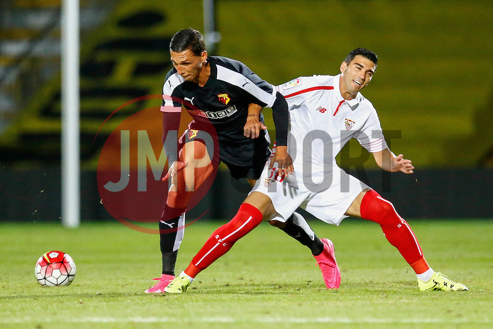 Jose Antonio Reyes of Sevilla under pressure from Jose Holebas of Watford - Mandatory by-line: Jason Brown/JMP - Mobile 07966 386802 31/07/2015 - SPORT - FOOTBALL - Watford, Vicarage Road - Watford v Sevilla - Pre-Season Friendly