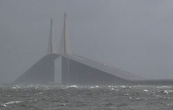 July 31, 2017 - St. Petersburg, Florida, U.S. - As Tropical Storm Emily approached, the Sunshine Skyway Bridge was closed Monday morning because of high winds. (Credit Image: © Dirk Shadd/Tampa Bay Times via ZUMA Wire)
