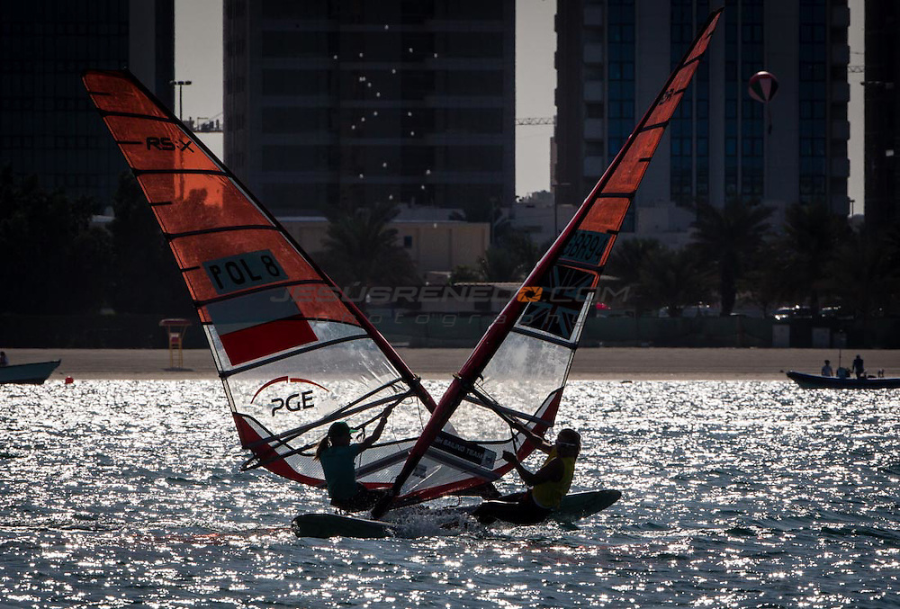 2014 ISAF Sailing World Cup Final, Abu Dhabi, United Arab Emirate. Date – day XX of racing. All ten Olympic sailing events are being contested in Abu Dhabi from with an open kiteboarding event joining the fray around Lulu Island off the UAE capital's stunning Corniche. Prize money will be awarded to the top three overall finishers in each of the Olympic events from a total prize purse of US$200,000. The Abu Dhabi Sailing and Yacht Club is the host of the ISAF Sailing World Cup Final with some technical facilities located at the adjacent Abu Dhabi International Marine Sports Club. The venue is located on the main island of the city with immediate access to the beautiful waters of the Arabian Gulf.