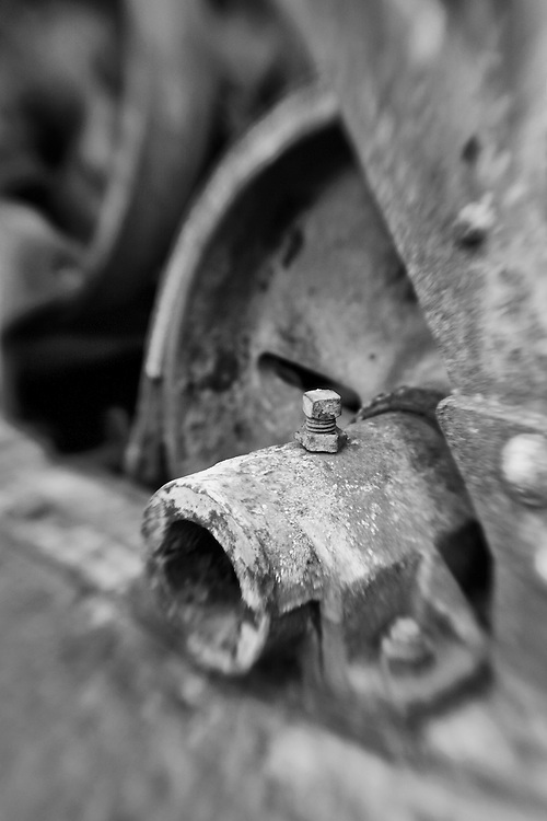 Rusting Equipment - Pottsville - Merlin, Oregon - Lensbaby - Black & White