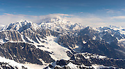 Aerial view of Denali (Mt. McKinley), the Kahiltna Glacier and the Alaska Range on a sightseeing flight from Talkeetna, Alaska.