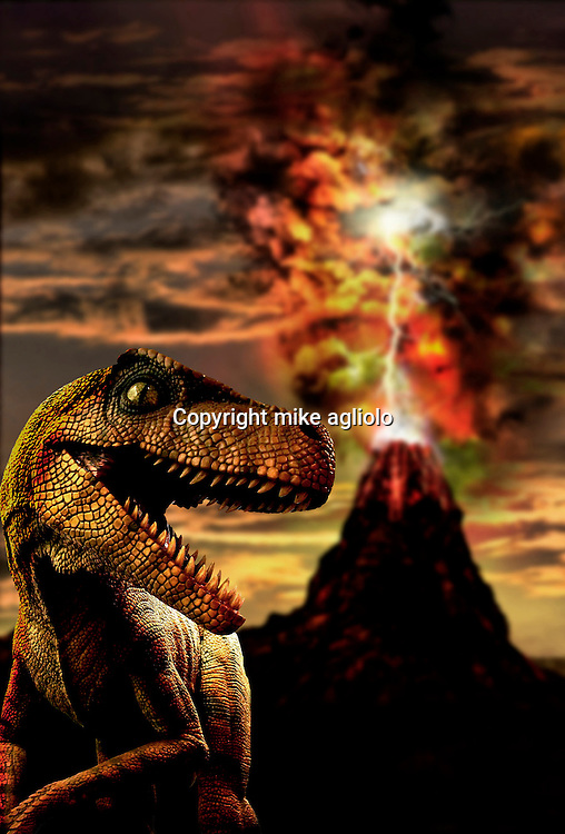dinosaur in front of volcano