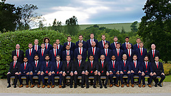 CARDIFF, WALES - Wednesday, June 1, 2016: Wales players line up for a team group photograph at the Vale Resort Hotel ahead of the UEFA Euro 2016 Championships in France. Back row L-R: George Williams, Ethan Ampadu, David Vaughan, goalkeeper Chris Maxwell, goalkeeper Daniel Ward, goalkeeper Wayne Hennessey, goalkeeper Owain Fon Williams, Wes Burns, Tyler Roberts, George Williams. Middle row L-R: Performance psychologist Ian Mitchall, Paul Dummett, Simon Church, Andy King, Ashley 'Jazz' Richards, Sam Vokes, James Collins, Ben Davies, James Chester, David Cotterill, David Edwards, physiotherapist Sean Connelly. Front row L-R: Medical Officer Doctor Jon Houghton, Neil Taylor, Hal Robson-Kanu, Joe Ledley, Gareth Bale, goalkeeping coach Martyn Margetson, assistant manager Osian Roberts, manager Chris Coleman, coach Paul Trollope, captain Ashley Williams, Aaron Ramsey, Chris Gunter, Joe Allen, head of performance Ryland Morgans. (Pic by David Rawcliffe/Propaganda)
