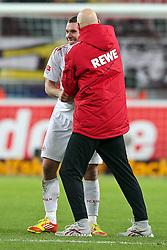10.12.2011, Rhein Energie Stadion, Koeln, GER, 1.FBL, 1. FC Koeln vs SC Freiburg, im BildLukas Podolski (Koeln #10) wird von Stale Solbakken (Trainer Koeln) in den Arm genommen nach dem 4:0 Erfolg // during the 1.FBL, 1. FC Koeln vs SC Freiburg on 2011/12/10, Rhein-Energie Stadion, Köln, Germany. EXPA Pictures © 2011, PhotoCredit: EXPA/ nph/ Mueller..***** ATTENTION - OUT OF GER, CRO *****