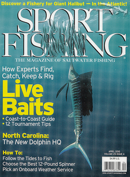 Sport Fishing, April 2010, Volume 25, Issue 4. Sailfish chasing sardines in Isla Mujeres, Mexico. Eric Cheng magazine covers.