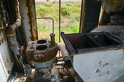 Abandoned train carriage in a disused railway yard