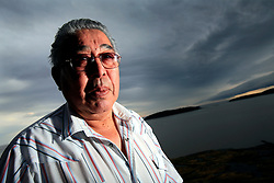 CANADA ALBERTA FORT CHIPEWYAN 12MAY07 - Portrait of Athabasca Chipewyan First Nation elder Pat Marcell overlooking Lake Athabasca at Fort Chipewyan.<br /> <br /> jre/Photo by Jiri Rezac / WWF-UK<br /> <br />  © Jiri Rezac 2007