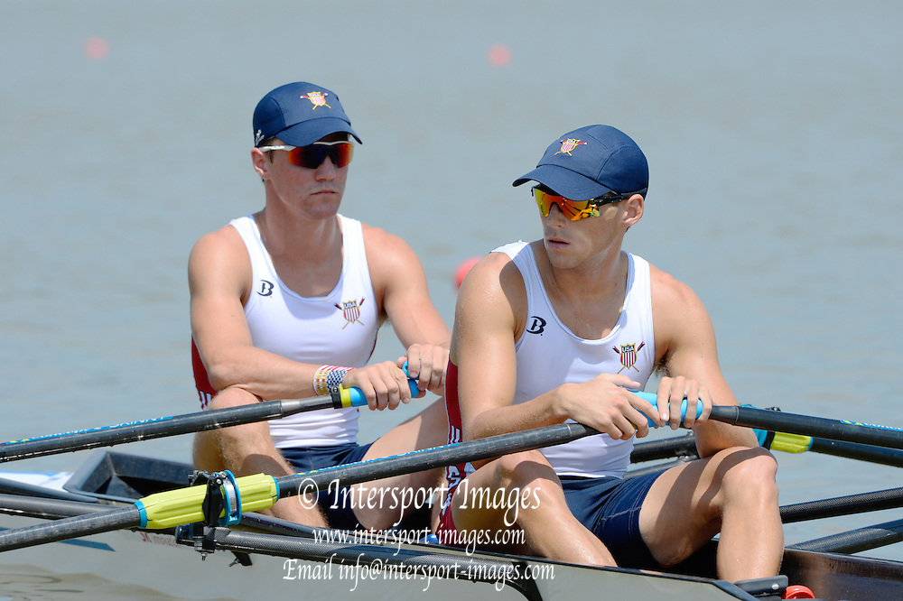 Chungju, South Korea.  USA LM2X. Bow. Christopher MEYER and Nicholas TROJAN. 2013 World Rowing Championships, Tangeum Lake, International Regatta Course.  Sunday  25/08/2013 [Mandatory Credit. Peter Spurrier/Intersport Images]