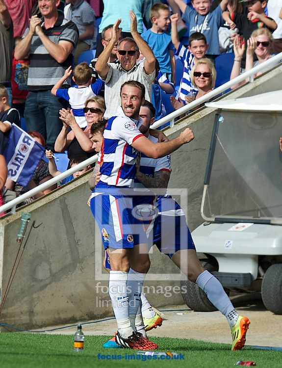 Jamie Mackie of Reading and goal scorer Glenn Murray (foreground) who gets a late equaliser to finish the game at 3-3 during the Sky Bet Championship match at the Madejski Stadium, Reading<br /> Picture by Alan Stanford/Focus Images Ltd +44 7915 056117<br /> 28/09/2014