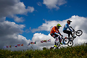 BMX Qualification, Robine Dijk (Netherlands), Mathijs Verhoeven (Belgium) during the Cycling European Championships Glasgow 2018, at Glasgow BMX Centre, in Glasgow, Great Britain, Day 9, on August 10, 2018 - Photo luca Bettini / BettiniPhoto / ProSportsImages / DPPI<br /> - Restriction / Netherlands out, Belgium out, Spain out, Italy out -