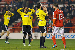 Jonathan Douglas of Brentford looks dejected after missing from a 1 on 1 with the goalkeeper - Photo mandatory by-line: Rogan Thomson/JMP - 07966 386802 - 05/11/2014 - SPORT - FOOTBALL - Nottingham, England - City Ground - Nottingham Forest v Brentford - Sky Bet Championship.