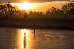 © Licensed to London News Pictures. 19/01/2016. London, UK. A walker passes the frozen waters of Heron Pond in Bushy Park. Overnight temperatures have dropped to as low as -4 centigrade. Photo credit: Peter Macdiarmid/LNP