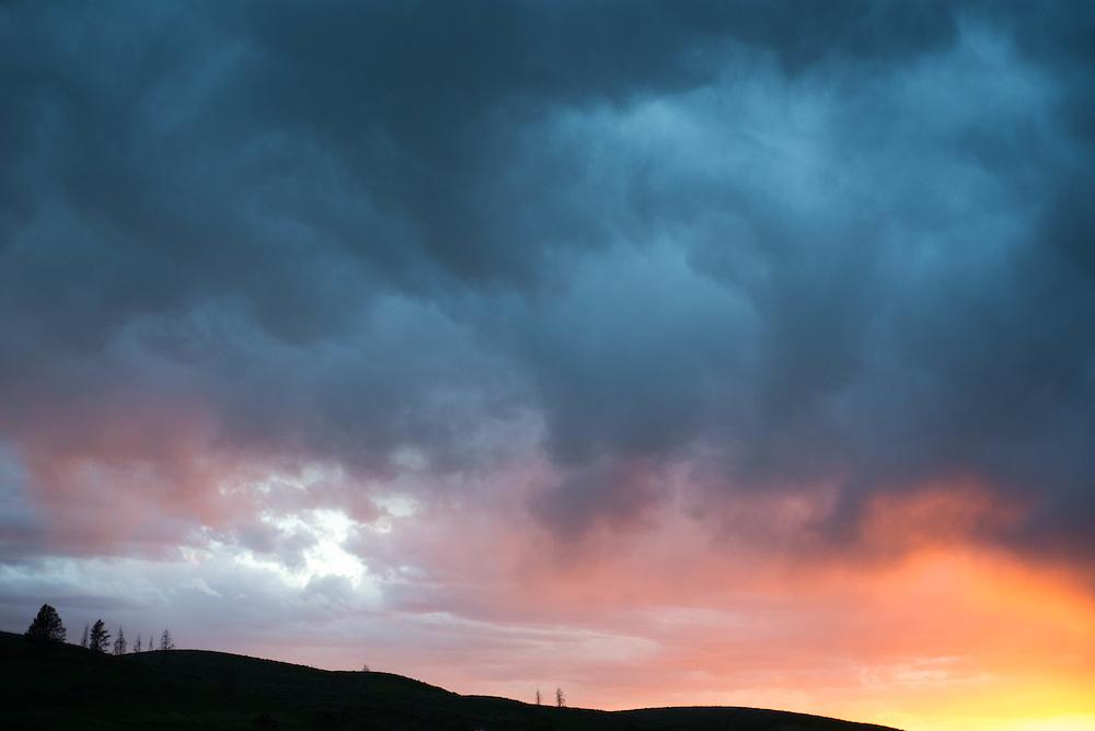Last light adorns a hillside in Yellowstone National Park's Hayden Valley
