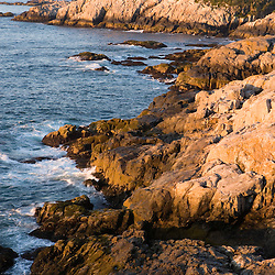 The rocky coast of Isle au Haut in Maine's Acadia National Park.  Cliff Trail.