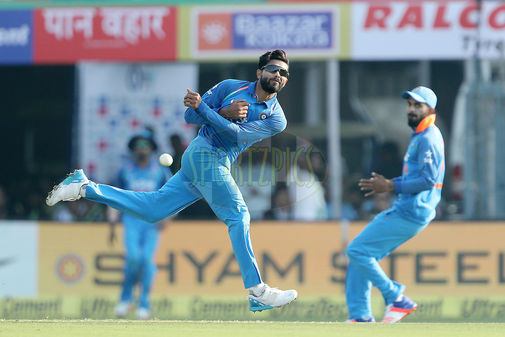 Ravindra Jadeja of India during the third One Day International (ODI) between India and England  held at Eden Gardens in Kolkata on the 22nd January 2017<br /> <br /> Photo by: Ron Gaunt/ BCCI/ SPORTZPICS