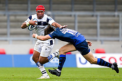 Siale Piutau of Bristol Bears takes on AJ MacGinty of Sale Sharks - Mandatory by-line: Robbie Stephenson/JMP - 29/08/2020 - RUGBY - AJ Bell Stadium - Manchester, England - Sale Sharks v Bristol Bears - Gallagher Premiership Rugby