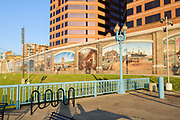 Roebling Murals in Covington, KY. The floodwall Murals show local history.