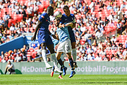 Manchester City Midfielder Bernardo Silva (20) goes up for a header against the Chelsea defence during the FA Community Shield match between Chelsea and Manchester City at Wembley Stadium, London, England on 5 August 2018. Picture by Stephen Wright.