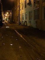 View of typical alley in Miami Beach at night, Miami Beach, FL, USA