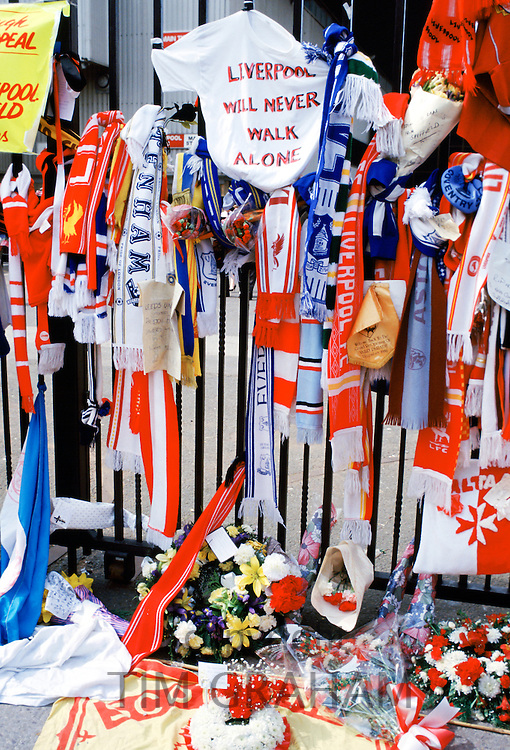 Tributes to the dead after the crowd tragedy at Anfield Stadium, The Kop, Liverpool Football Club ground, UK