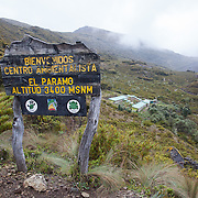 Base camp at kilometer 14 on the trail to the top of Chirripo Mountain in Chirripo National Park, Costa Rica. Chirripo is the highest mountain in Costa Rica.