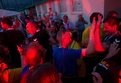 Milorad Krivokapic of Cimos Koper, Robert Konecnik of Cimos Koper and fans celebrate  after the handball match between RK Cimos Koper (SLO) and SL Benfica (POR) in return final match of EHF Challenge Cup, on May 22, 2011 in Tent at Arena Bonifika, Koper, Slovenia. Koper defeated Benfica 31-27 and became Euro Challenge Champion 2011. (Photo By Vid Ponikvar / Sportida.com)