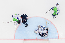 Anze Kopitar of Slovenia and Jan Urbas of Slovenia vs Michal Sersen of Slovakia and Jan Laco of Slovakia during Ice Hockey match between Slovakia and Slovenia at Day 5 in Group B of 2015 IIHF World Championship, on May 5, 2015 in CEZ Arena, Ostrava, Czech Republic. Photo by Vid Ponikvar / Sportida