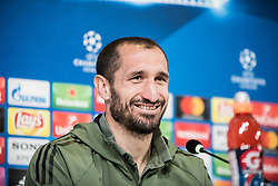 April 2, 2018 - Turin, Piedmont/Italy, Italy - Giorgio Chiellini during the Juventus FC press conference before the UFC mathc against Real Mardird. Allianz Stadium, Turin, Italy 2nd april 2018  (Credit Image: © Alberto Gandolfo/Pacific Press via ZUMA Wire)