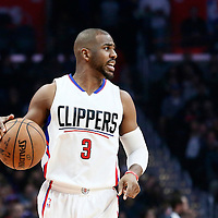 12 December 2016: LA Clippers guard Chris Paul (3) brings the ball up court during the LA Clippers 121-120 victory over the Portland Trail Blazers, at the Staples Center, Los Angeles, California, USA.