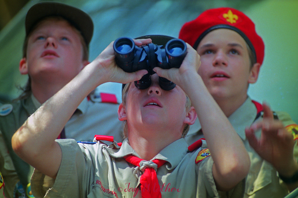 A Boy Scout troop watches the progress of Mike Corbett and Mark Wellman during their climb of Half Dome.  September 16, 1991.