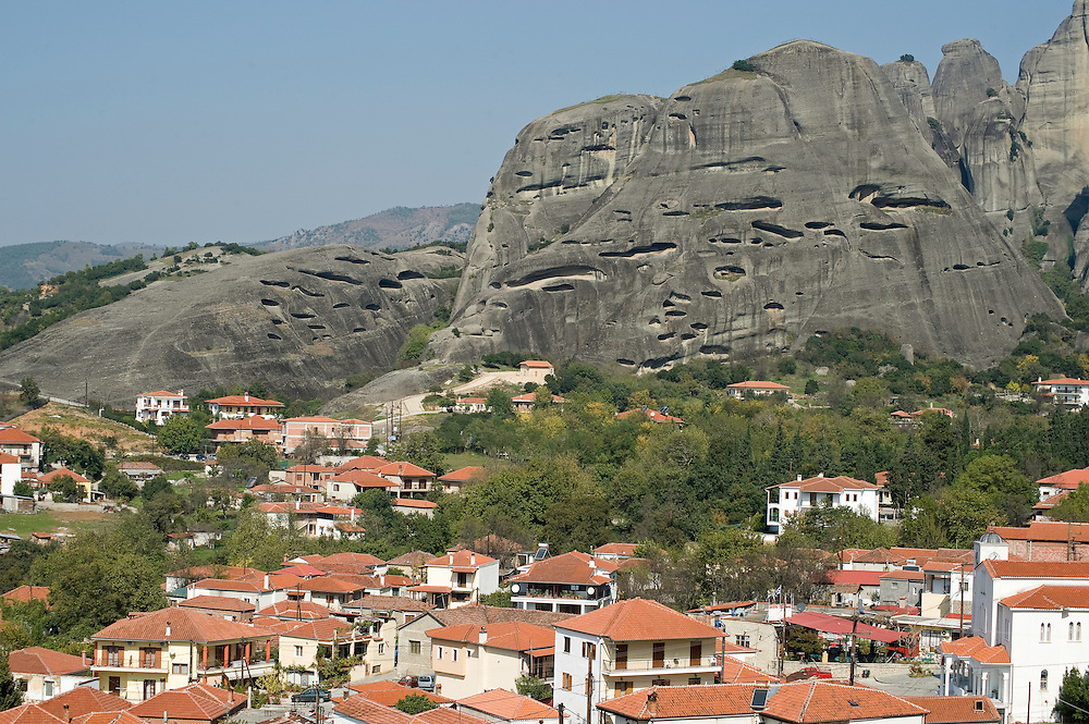 Greece, Meteora, Kalampaka Town and Cave flats in Meteora cliffs