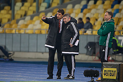 KIEV, UKRAINE - Easter Monday, March 28, 2016: Wales' manager Chris Coleman and assistant manager Osian Roberts during the International Friendly match against Ukraine at the NSK Olimpiyskyi Stadium. (Pic by David Rawcliffe/Propaganda)