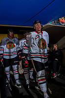 KELOWNA, CANADA - OCTOBER 21: Mason Mannek #26 of the Portland Winterhawks walks for the ice at the start of second period against the Kelowna Rockets on October 21, 2017 at Prospera Place in Kelowna, British Columbia, Canada.  (Photo by Marissa Baecker/Shoot the Breeze)  *** Local Caption ***