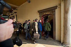 © London News Pictures. 28/03/2013 . Windsor, UK.  Journalists entering the Guild Hall in Windsor, Berkshire for the opening of an inquest into the death of Russian oligarch Boris Berezovsky. Boris Berezovsky was found lying on a bathroom floor of his home in Ascot, Berkshire with a ligature around his neck.Photo credit : Ben Cawthra/LNP