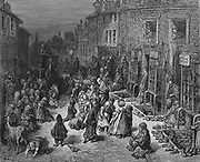 Dudley Street, Seven Dials' : From Gustave Dore and Blanchard Jerrold 'London: A Pilgrimage' London 1872.  Unkempt, dirty children play in the street while cab tries to drive through without crushing them. Wood engraving