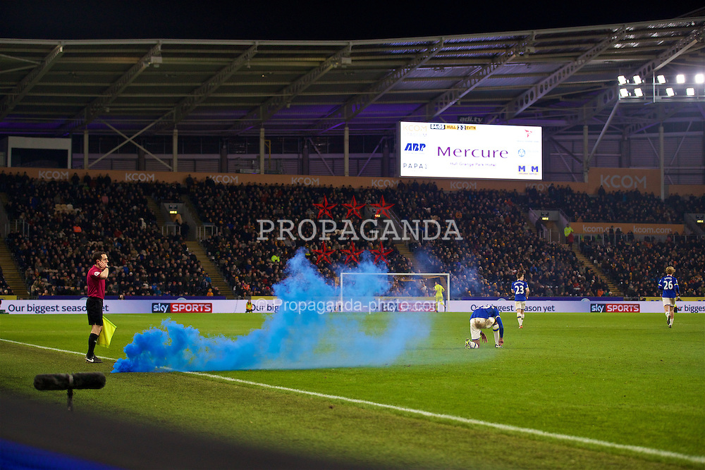 KINGSTON-UPON-HULL, ENGLAND - Friday, December 30, 2016: A blue smoke bomb is thrown onto the pitch as Everton supporters celebrate their second equalising goal against Everton during the FA Premier League match at the KCOM Stadium. (Pic by David Rawcliffe/Propaganda)