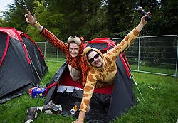 Repro Free: 30/10/2013 Owen O'Donoghue and Eddie Fletch from Clonmel pictured setting up camp on the opening day of Electric Picnic 2013. Picture Andres Poveda